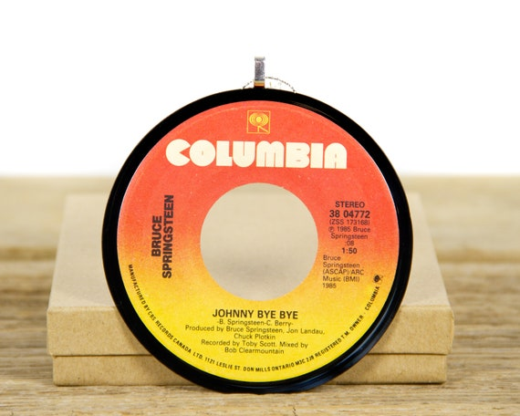 """Vintage Bruce Springsteen """"Johnny Bye Bye"""" Record Christmas Ornament from 1985 / Holiday Decor / Music Gift / Rock, Pop"""