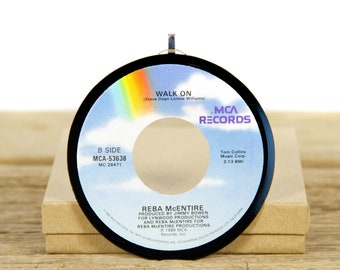 """Vintage Reba McEntire """"Walk On"""" Record Christmas Ornament from 1989 / Holiday Decor / Music Gift / Folk, Country"""