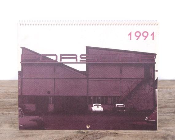 1991 Porsche Calendar / Porsche 356 Car / Porsche Collectible / Retro Porsche Poster / Porsche Decor / Man Cave Car Picture Garage Gift