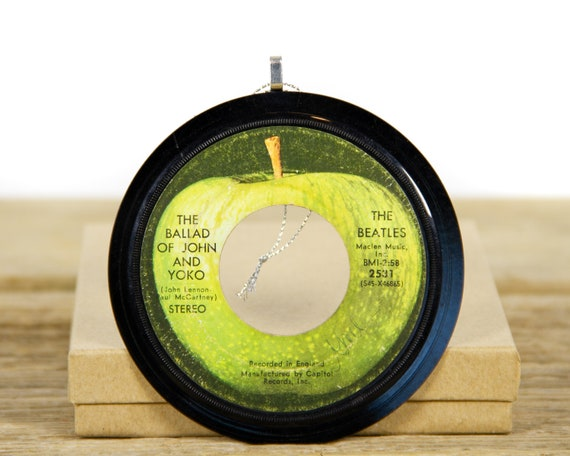 """Vintage The Beatles """"The Ballad Of John And Yoko"""" Record Christmas Ornament from 1971 / Holiday Decor / Music Gift / Rock, Pop"""