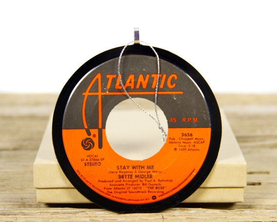Vintage Bette Midler Vinyl Record Christmas Ornament from 1979 / Vintage Holiday Music / Jukebox 45 Vinyl Record Gift / Rock Stage Screen