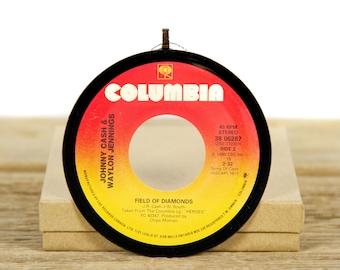 "Vintage Johnny Cash & Waylon Jennings ""Field of Diamonds"" Record Christmas Ornament from 1986 / Music Gift / Vintage Decor / Country, Folk"