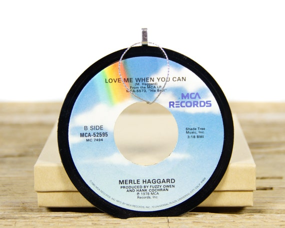 Vintage Merle Haggard Vinyl Record Christmas Ornament from 1980 / Vintage Holiday Music / Jukebox 45 Vinyl Record Gift / Folk Country Music