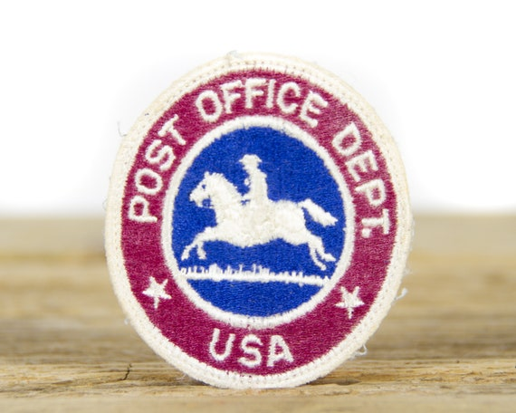 """Vintage USA Post Office Dept / 3"""" Red White Blue Equestrian Patch / United States of America Patch / Delivery Patch"""