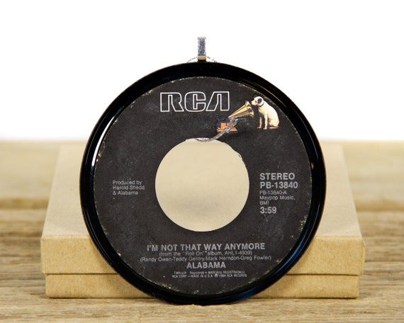 """Vintage Alabama """"I'm Not That Way Anymore"""" Record Christmas Ornament from 1984 / Holiday Decor / Music Gift Present / Country, Folk"""