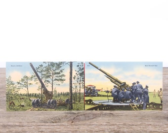 Vintage WWII Military Post Cards / M10 Anti Aircraft Unit / M13 Heavy Artillery / Old Military Collectible / US Army WW2 Military Gift