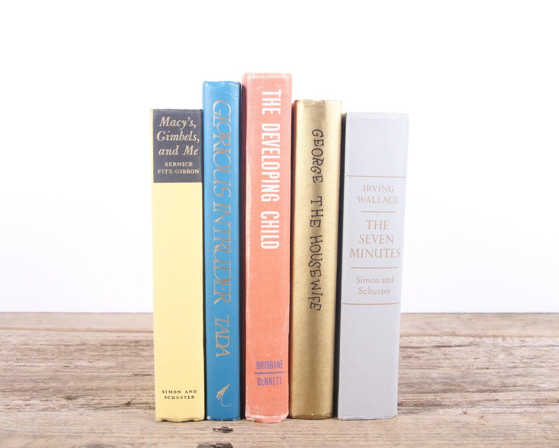 Vintage Bright Colorful Books / Old Books Vintage Books / Decorative ...