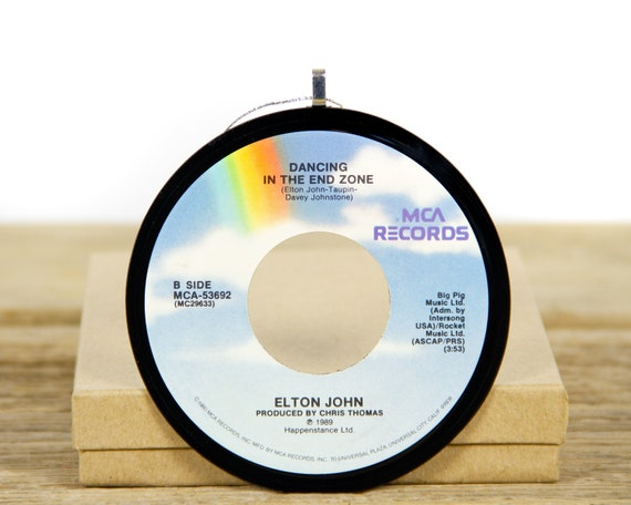 """Vintage Elton John """"Dancing In The End Zone"""" Record Christmas Ornament from 1989 / Vintage Ornament / Rock, Pop"""