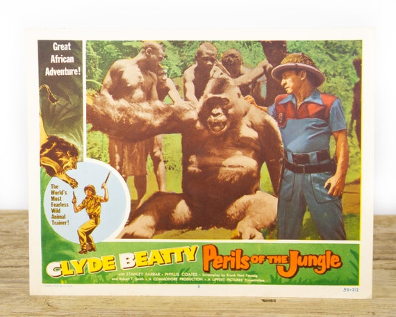 Perils of the Jungle starting Clyde Beatty - Original 11x14 Movie Lobby Card from 1953 (53/212) - Movie Theater Room Decor Collectible