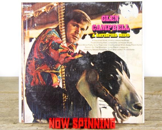 "Vintage Glen Campbell ""A Satisfied Mind"" LP Record Album 1971 / Vinyl Record / 33 Vinyl Records / Country Folk Music"