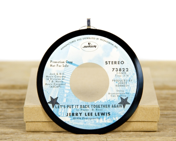 """Vintage Jerry Lee Lewis """"Let's Put it Back Together Again"""" Record Christmas Ornament from 1976 / Vintage Holiday Decor Gift / Rock, Country"""