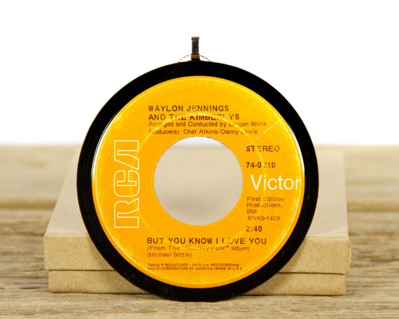 """Vintage Waylon Jennings And The Kimberlys """"But You Know I Love You"""" Record Christmas Ornament from 1969 / Vintage Ornament / Country, Folk"""