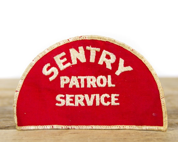 """Vintage 1970's Sentry Patrol Service Patch / Red and White 5"""" Security Patch"""