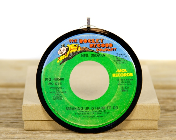 """Vintage Neil Sedaka """"Breaking Up Is Hard To Do"""" Record Christmas Ornament from 1975 / Music Ornament Gift / Rock, Pop"""