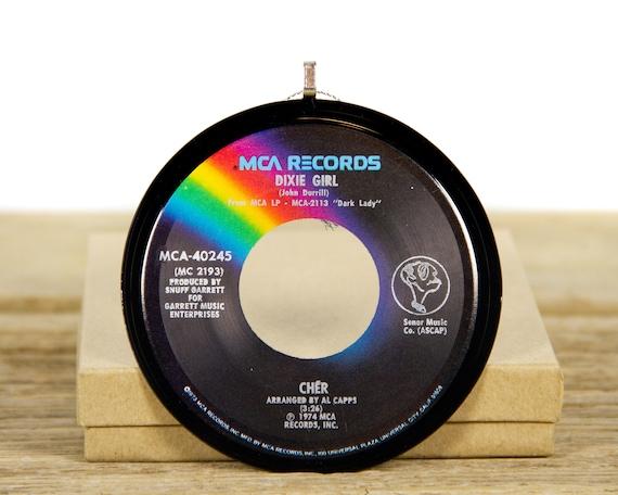 "Vintage Cher ""Dixie Girl"" Record Christmas Ornament from 1974 / Music Gift / Vintage Ornament / Vintage Christmas Decor / Rock, Pop"