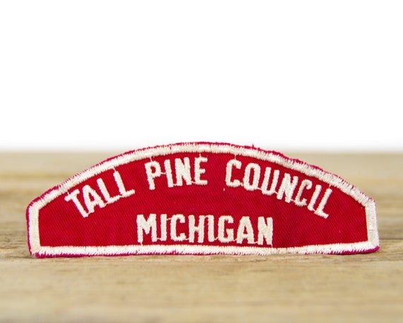 """Vintage Boy Scouts of America Tall Pine Council Michigan Shoulder Patch / BSA 5"""" Scout Patch"""