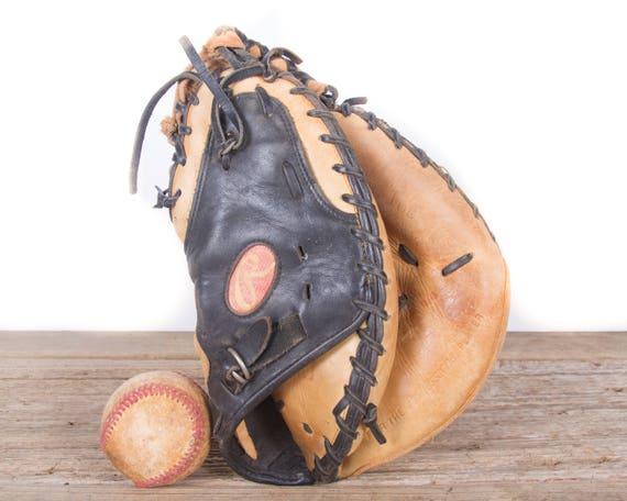 Old Vintage Leather Baseball Glove Rawlings Catchers Mitt Etsy