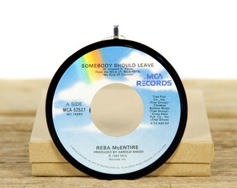 """Vintage Reba McEntire """"Somebody Should Leave"""" Record Christmas Ornament from 1984 / Holiday Decor / Music Gift / Folk, Country"""