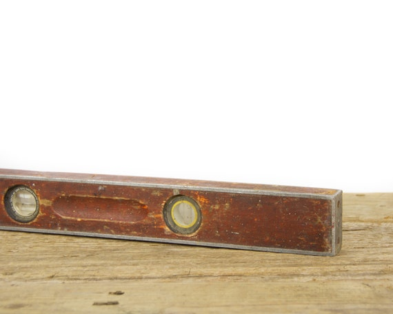 """Antique 28"""" Wooden Level / Stanley Wood and Metal Level / Old Carpentry Tool / Rustic Woodworking / Industrial Antique Wood Tool"""