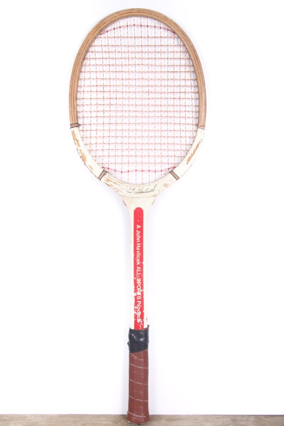 Vintage Wooden Tennis Racket / Wood Tennis Racquet  / John Havlicek All Sports Products Tennis Racket / Antique Tennis Racket / Sports Decor