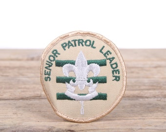 Vintage Scout Patches / Beige Senior Patrol Leader Scout Patche / Scout Patches / Grunge Patches / Punk Patches / Green White Patches