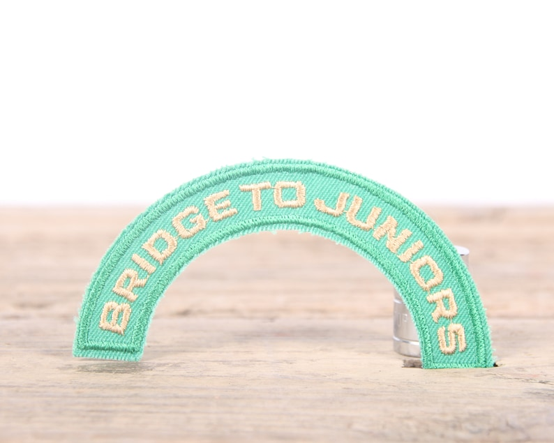 Vintage Girl Scout Patch  1970/'s-80/'s Scout Patch  Green Yellow Bridge To Juniors Patch  Old Stock Scout Patch  Scout Badge