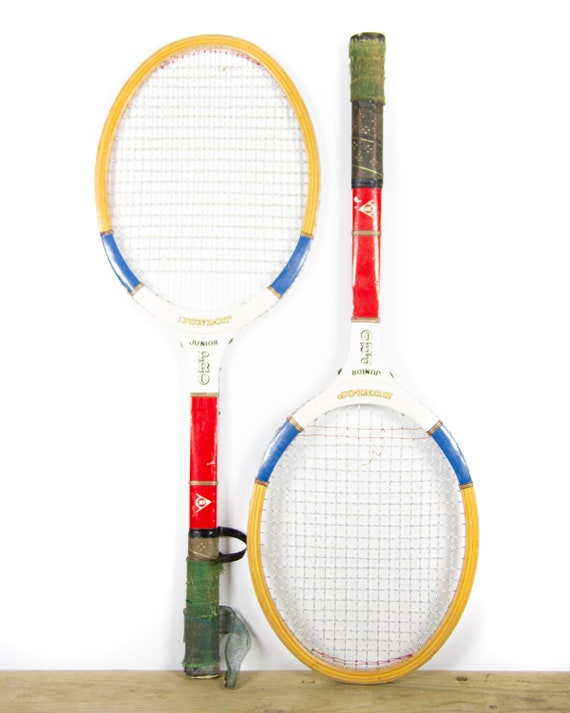 Vintage Dunlop Junior Pro Wooden Tennis Racquets / Red and White Antique Wood Tennis Racket / Sports Decor