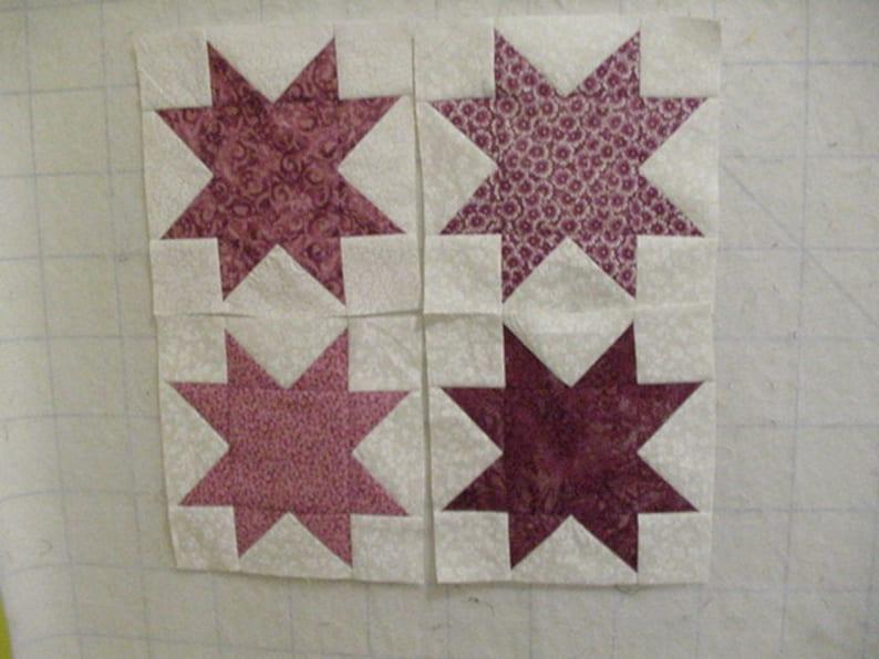 Set of 16 Rose or Mauve 6 inch star quilt blocks squares