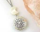 Moon Diffuser Necklace - Aromatherapy - Pearl Moon Necklace - Crescent Moon - Locket Necklace - Essential Oil Diffusing - Gift for Her