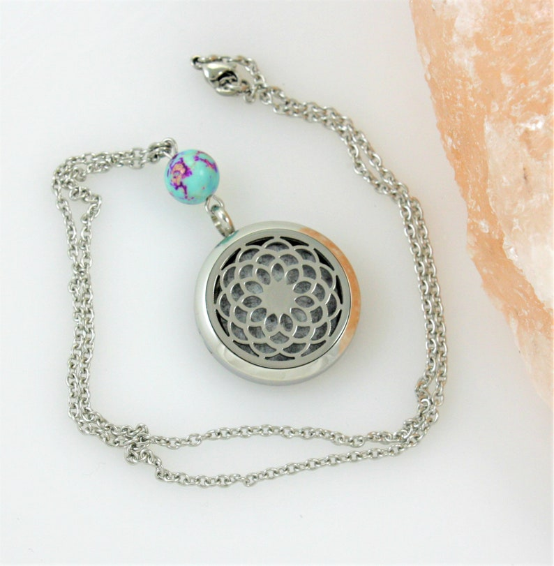Boho Mandala Essential Oil Diffuser Necklace Zen Gemstone Aromatherapy Scent Locket Yoga Gift for Her