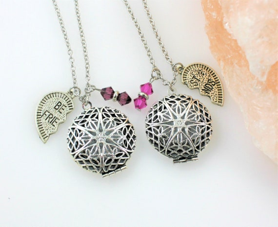 BFF Jewelry Fashion Aromatherapy Essential Oil Necklace Diffuser Locket Necklaces Double Heart Pendant
