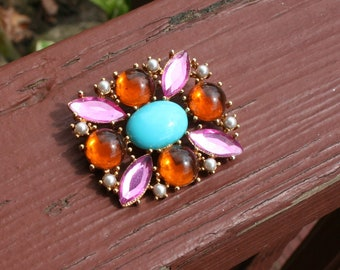 Brooch Pin Jewels turquoise 1980s