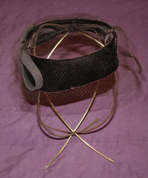 Hat Brown Velvet Fascinator 1950s - image 1
