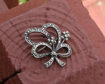 Brooch Pin Bow Ribbon Marcasite Sterling Silver