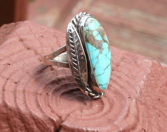 Turquoise Ring Silver Feather 1970s
