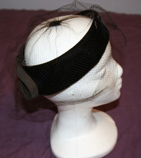 Hat Brown Velvet Fascinator 1950s - image 5