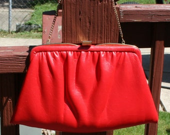Red Leather Purse Clutch Vintage Ande'