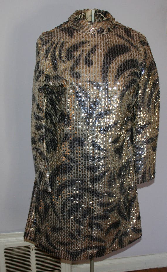 Sequin Dress 1960s Black and Gold Metalic Dress