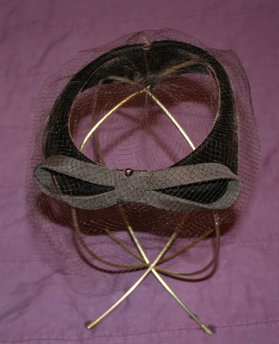 Hat Brown Velvet Fascinator 1950s - image 3