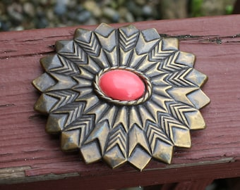 Belt Buckle Revcor Flower Coral 1980s