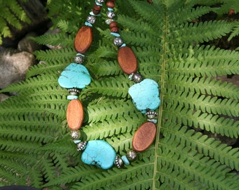 Necklace Turquoise Wood Silver Beads