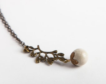 Concrete Jewelry, Concrete Bead and Bronze Vine Necklace, Cement Jewelry, Modern, Women's Gift Under 30