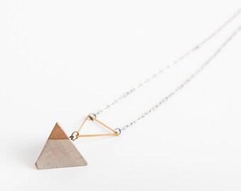 Concrete Jewelry, Concrete Geometric (Tetrahedron) Necklace, Cement Jewelry, Modern, Minimalist Jewlery, Women's Gift Under 30