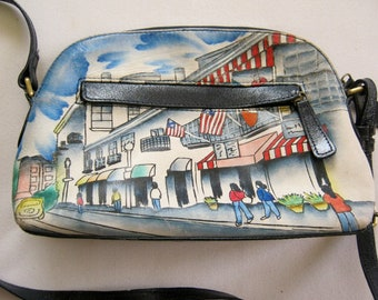 ARTIST EXPRESSIONS by Sharif Hand Painted Leather Shoulder Bag PURSE f49217cdac