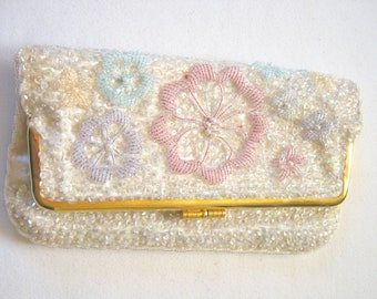 Vintage 1960's Aurora sequin and Seed Covered Purse EVENING CLUTCH PURSE