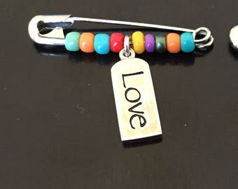 Pride and Acceptance Beaded Safety Pin