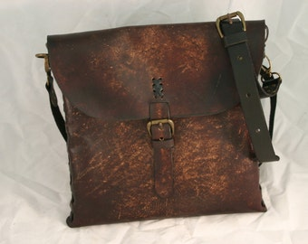 Leather Messenger / Laptop Bag with Natural Range Marks