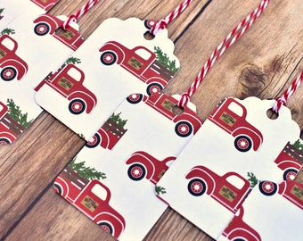 handmade red truck christmas gift tags with string rustic christmas gift tags christmas tags handmade rustic christmas gift wrapping - Christmas Tags Handmade