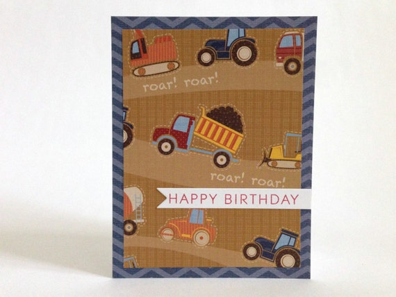 Truck Birthday Card Little Boy Birthday Card Tractor Etsy