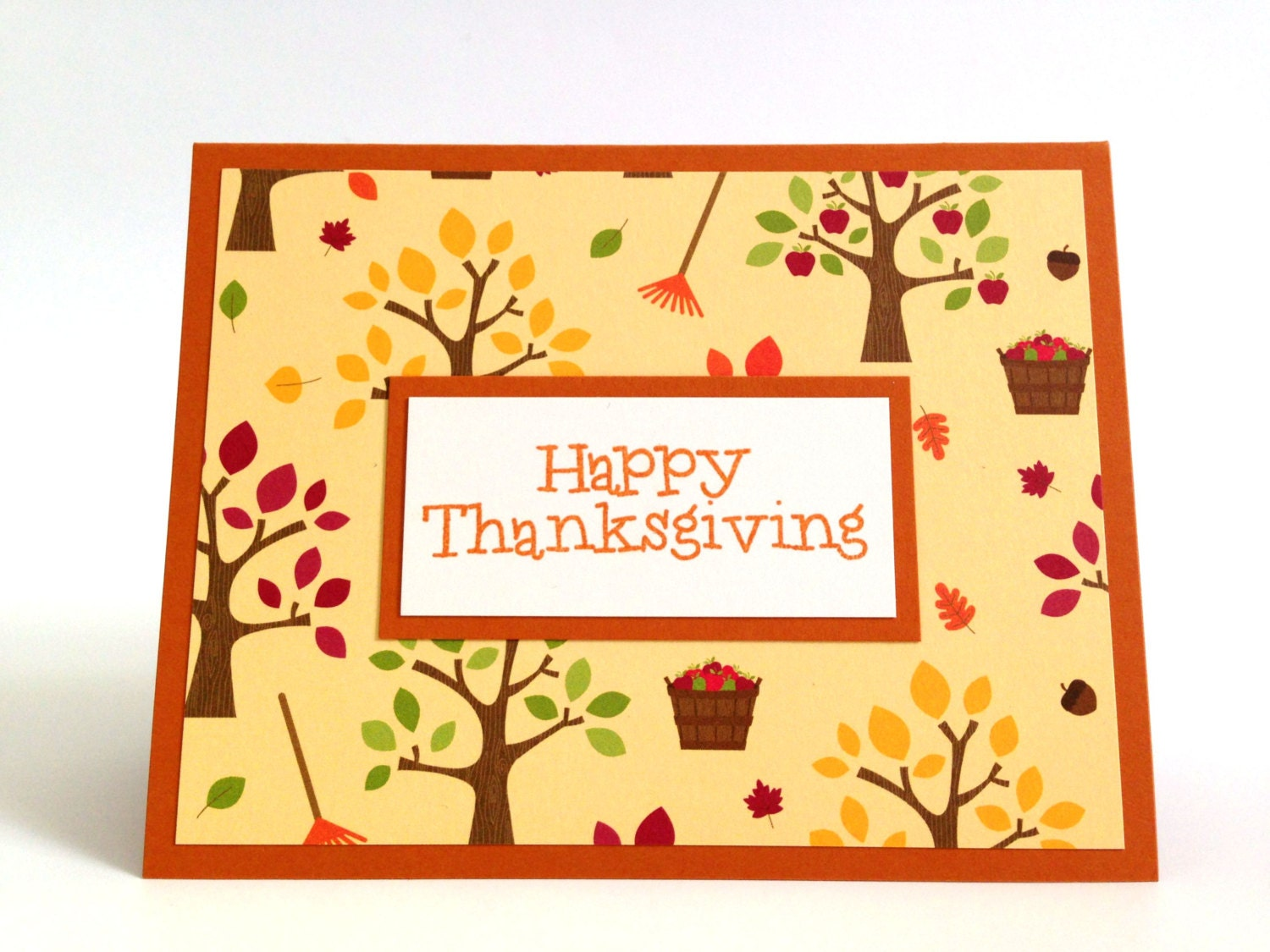 Happy Thanksgiving Card Autumn Greeting Card Fall Tree Etsy